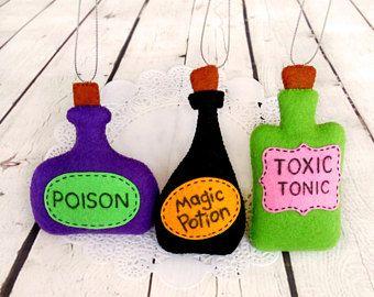Halloween ornamento poción mágica botella veneno bruja hechizo Spooky Halloween tónico tóxico bebé ducha de juguete de regalo fieltro colgantes decoración partido favores