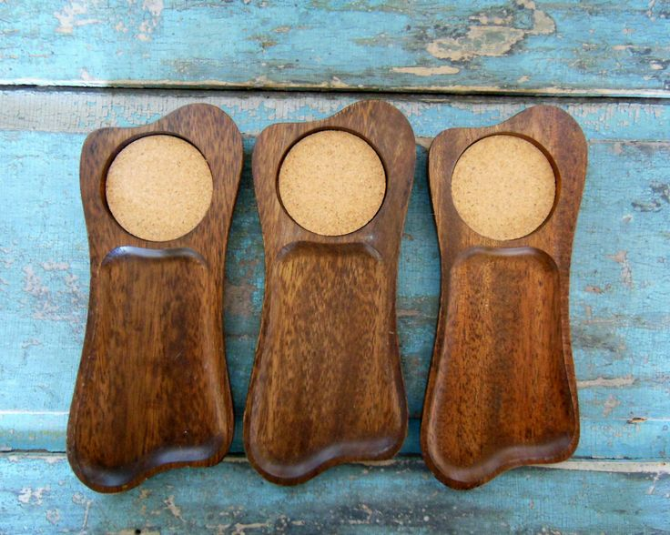 Set of 3 Handcarved Snack Trays Coasters Wood Cork Midcentury by turquoiserollerset on Etsy