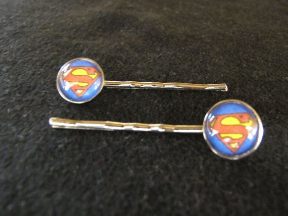 Superman Hair Barrette Set by EpicButtons on Etsy, $6.00