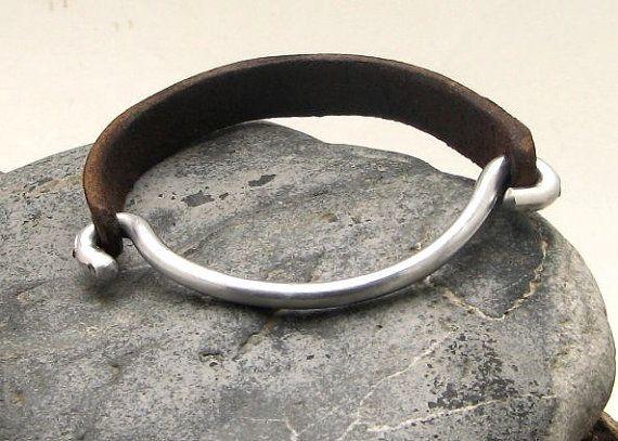 FREE SHIPPING Men's leather bracelet Brown leather by eliziatelye, $27.00