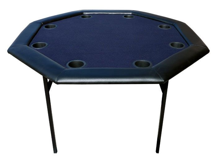 Perfect 48 Inch Octagon Poker Table W/ Folding Legs   Blue