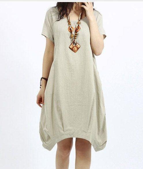 Rice white linen dress maxi dress short by originalstyleshop, $53.00