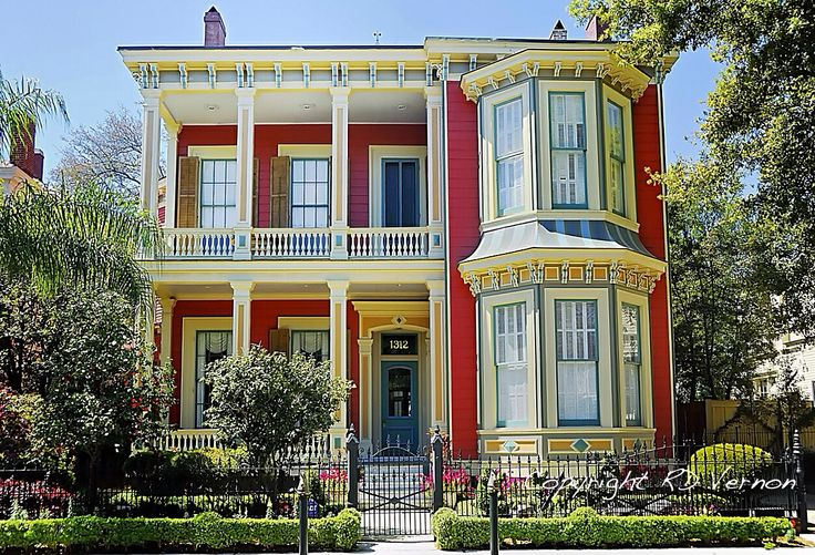 Vibrant red victorian exterior house paint ideas New orleans paint colors