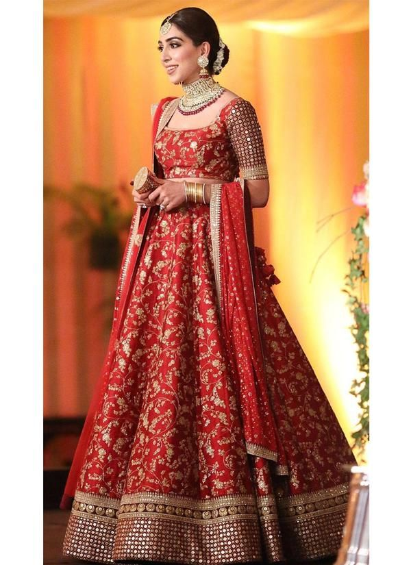 3354a60666f1 Exclusive Heavy Designer Beautiful Bridal Red Color Bridal Lehenga Choli- STYLIZONE - Stylizone A beautiful blush pink gown with a heavily  embellished bodice ...