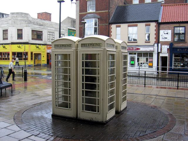 White Telephone Boxes, unique to Kingston upon Hull, UK