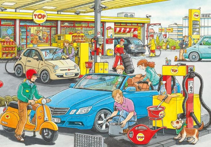 På bensinstasjonen