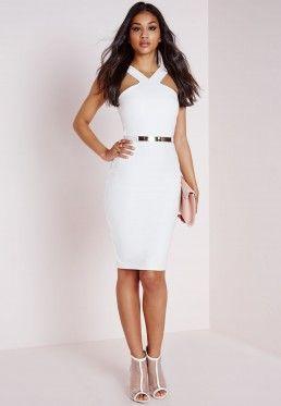 Crepe Cross Strap Midi Dress White