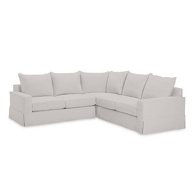 PB Comfort Square Arm 3 Piece L Shaped Corner Sectional Slipcover Knife Edge