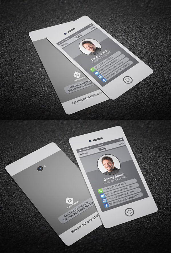 Stylish Smartphone Business Card #businesscards #psdtemplates #visitingcard #corporatedesign