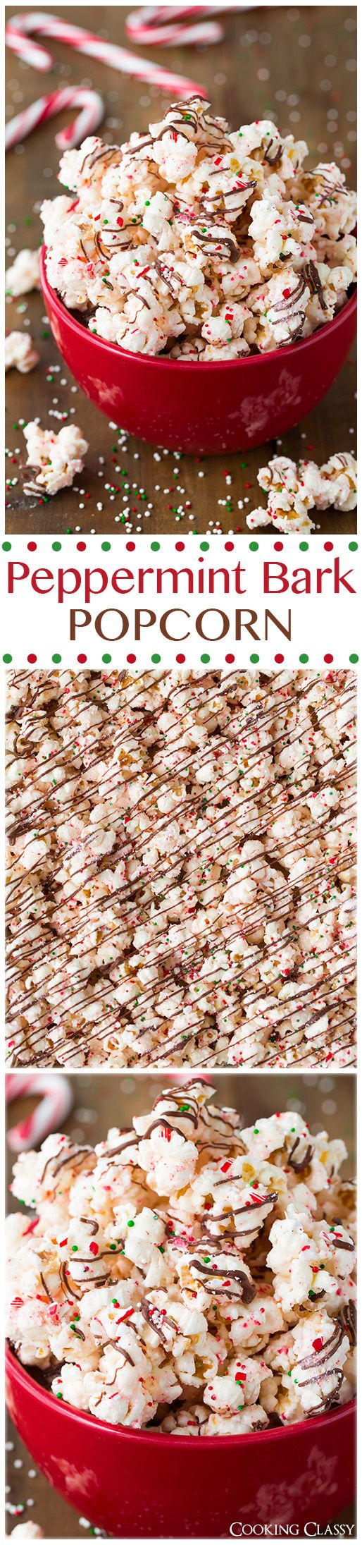 Peppermint Bark Popcorn - this is ADDICTIVE! It's even better than the real thing! Popcorn is coated with peppermint flavored white chocolate then it's drizzled with semi sweet chocolate and sprinkled (Christmas Recipes Snacks)