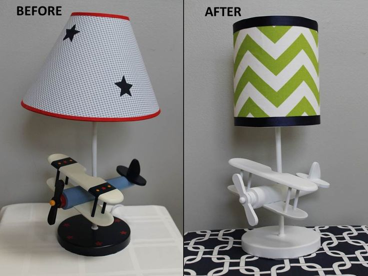 Upcycled plane lamp for Little Man's transportation themed big boy room by Magnolia Mommy Made