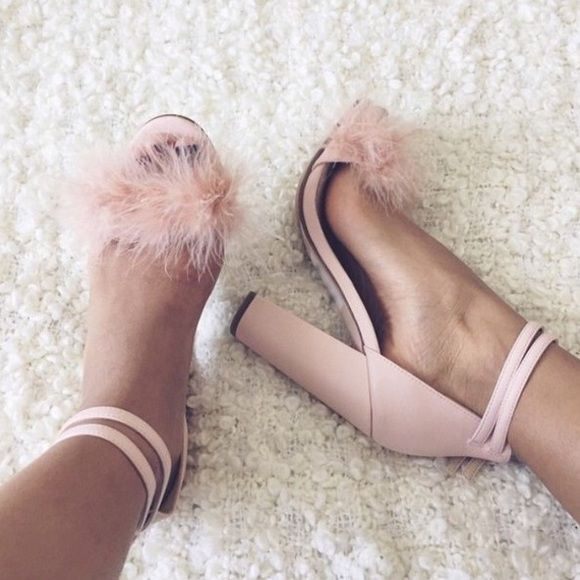 Top Shop Rabbit Heels Light pink sandal heel. Chunky heel. Faux fur. In very good condition. Worn once. Topshop Shoes Heels