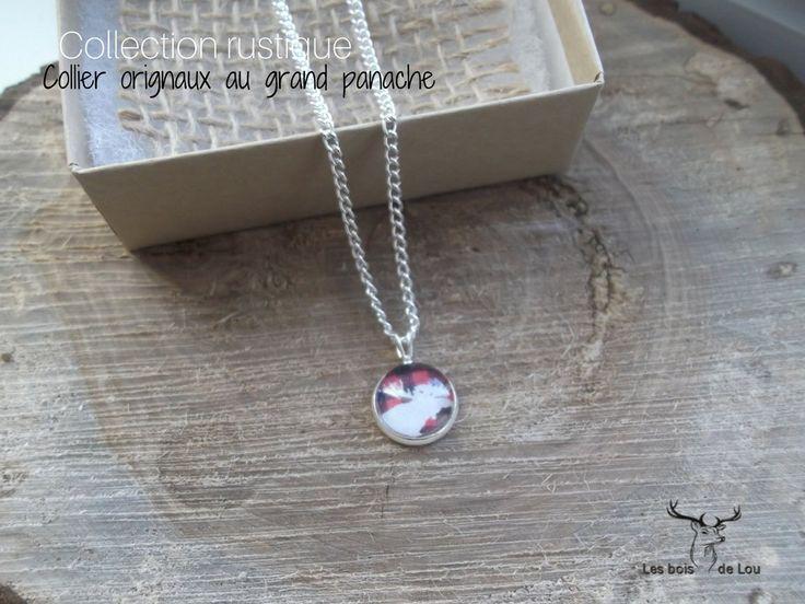 Collier - Chaine - Plaqué argent - Orignal - grand panache - rustique et carreautés- rouge et blanc de la boutique LesboisdeLou sur Etsy