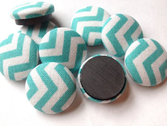 Kitchen Magnets - 9 Aqua Chevron - Office Decor - Button Magnets - Office Organization - Strong Magnets - Fridge Magnets