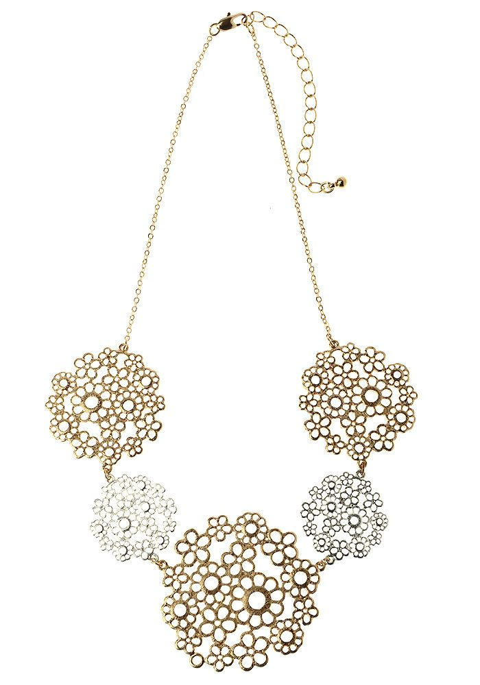 AlibiOnline - CNM477 - Necklace Gold With Flowers by MAJIQUE, $32.95 (http://www.alibionline.com.au/cnm477-necklace-gold-with-flowers-by-majique/)