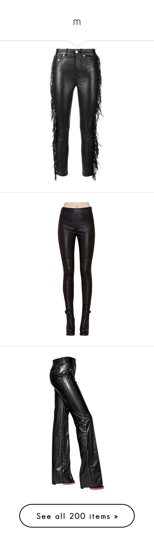 """m"" by bluekiller2002 ❤ liked on Polyvore featuring pants, trousers, black, black slim fit pants, black trousers, western pants, fringe pants, slim pants, leggings y black faux leather pants"