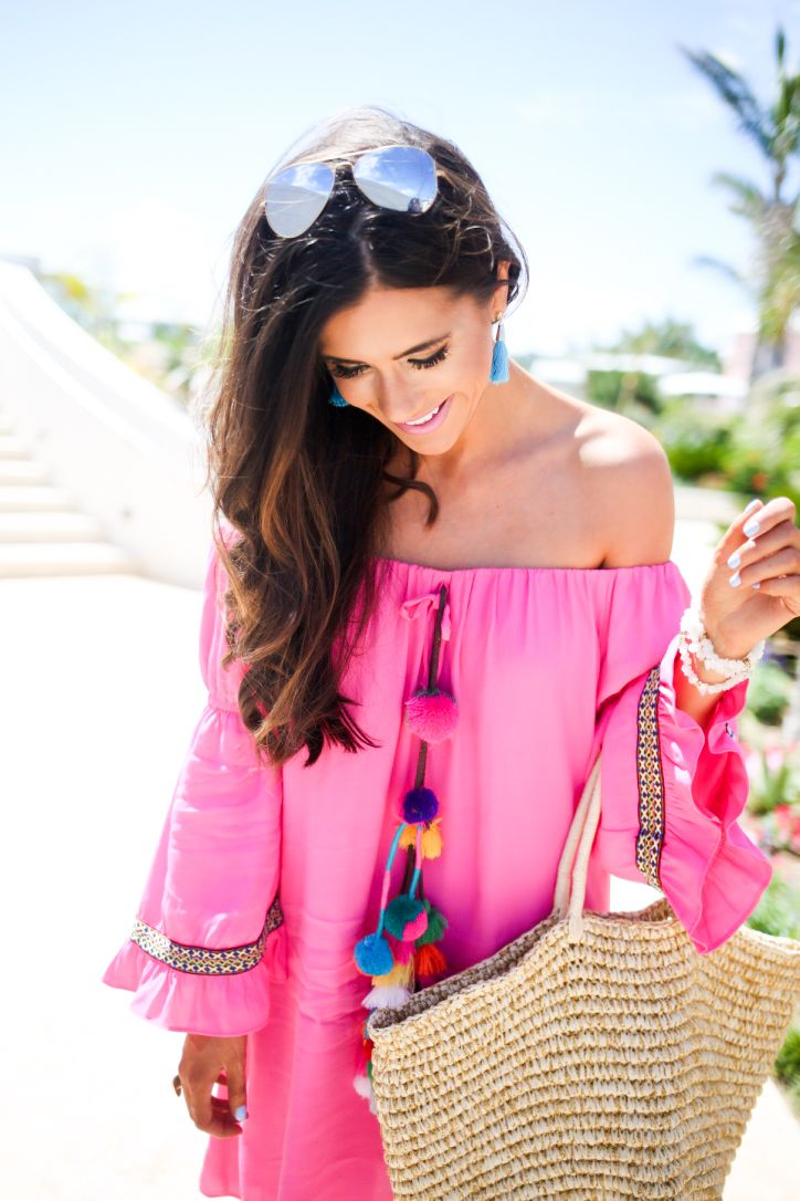 The Sweetest Thing: Bermuda: Hot Pink & Pom-Poms