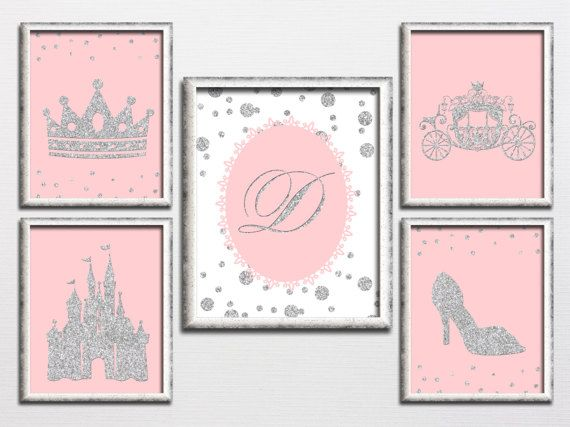 Printable set pink and silver glitter girl by HappyPrintCreations