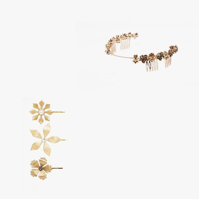 Olivia The Wolf Golden flower hairpins, $78, asos.com; Zara floral rigid hairband, $30, for information: zara.com