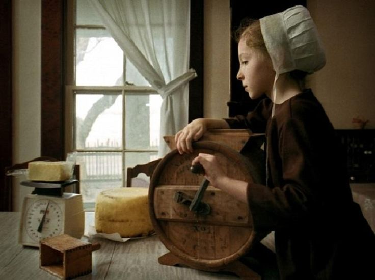 Amish Girl Churning Butter by Rebecca Forsythe - Pixdaus