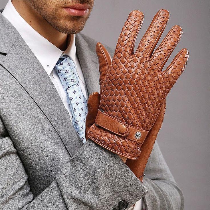 Gloves, Winter, Men's, Leather, Weave