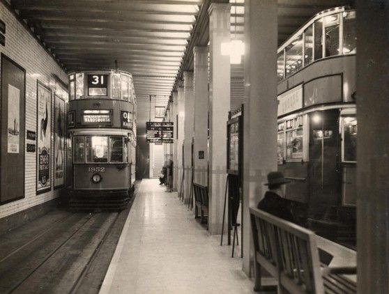 London trams in the Kingsway Tram Tunnel, Holborn. London.        (Image: London Transport Museum/TfL.)