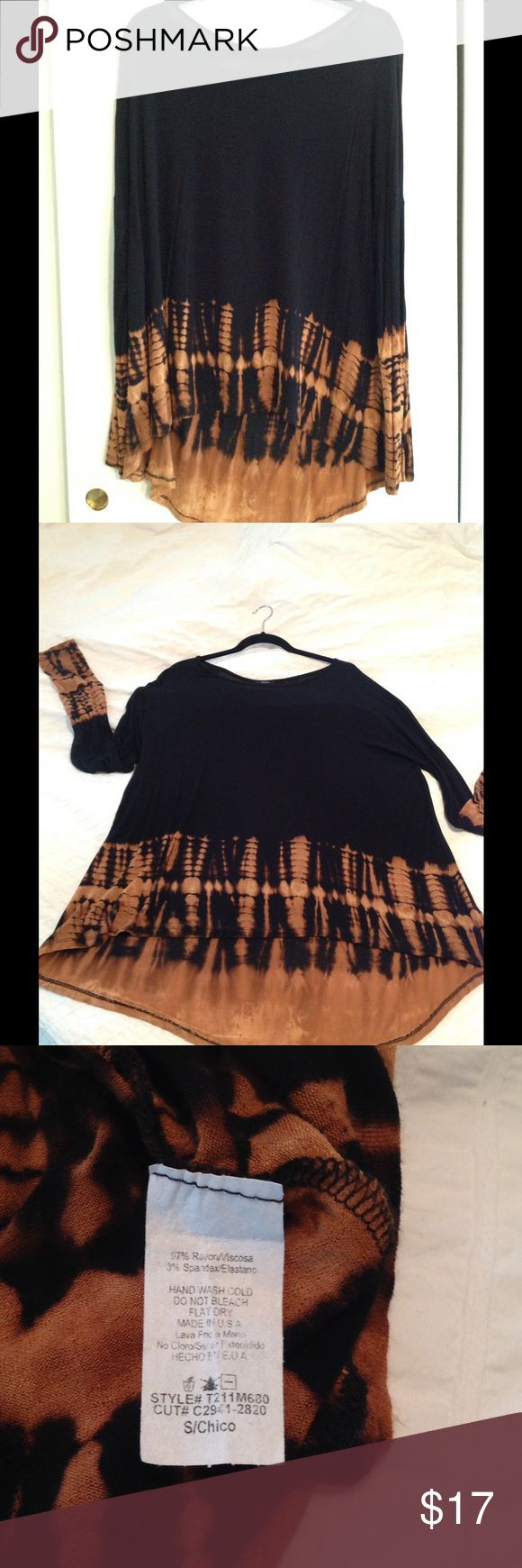 Long sleeve loose fitting top Long sleeve loose fitting top, thin stretchy material with tie dye on lower half of shirt, flows longer in back. Size small but fits like a medium Tops Tees - Long Sleeve