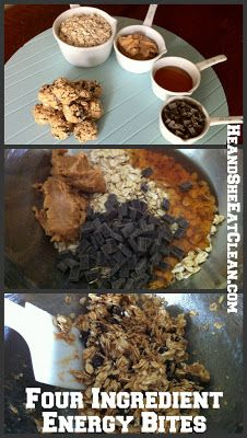 Ingredients:  1 cup oats (dry)  1/4 cup natural peanut butter  3 Tbsp honey  2 Tbsp dark chocolate chips   Directions:  1. Mix all ingredients  2. Place bowl in refrigerator for 30 minutes to 1 hour  3. Roll mixture into bites 4. Store in refrigerator until ready to eat   Makes 4 servings   Macros (per serving):  Calories - 338  Protein - 10 g  Carbs - 37 g  Fat - 18 g