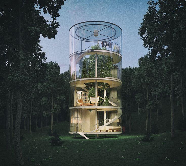 La Casa De Cristal Con Un Árbol Dentro (o El Árbol En La Casa De Cristal) - http://wow.mx/2016/03/25/la-casa-de-cristal-con-un-arbol-dentro-o-el-arbol-en-la-casa-de-cristal/ - Es un diseño, pero con posibilidades de convertirse en realidad. La Casa En el Árbol o el Árbol en la casa como le llamo yo es un diseño tubular en vidrio alrededor de un árbol. Cautivante y precioso, aunque personalmente no viviría en esa casa :)   Es resultado del diseño del