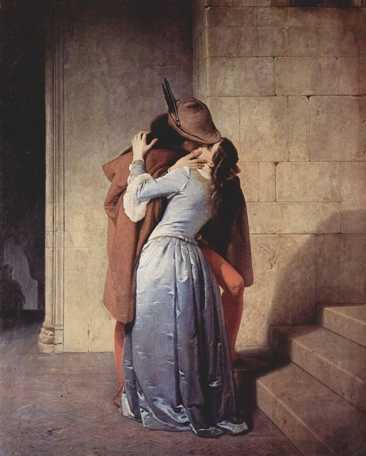 The Kiss, Francesco Hayez    I loved this painting as a teen; I conjured up all kinds of romances in my head- it was the sexiest painting I'd ever encountered!