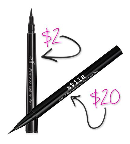 Stila liquid liner vs. ELF! Click for more Splurge vs Steal: ELF Makeup Dupes You Can't Resist