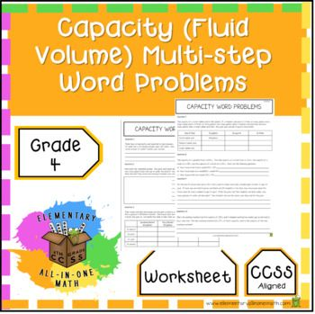 Capacity Fluid Volume Multi Step Word Problems 4th Grade