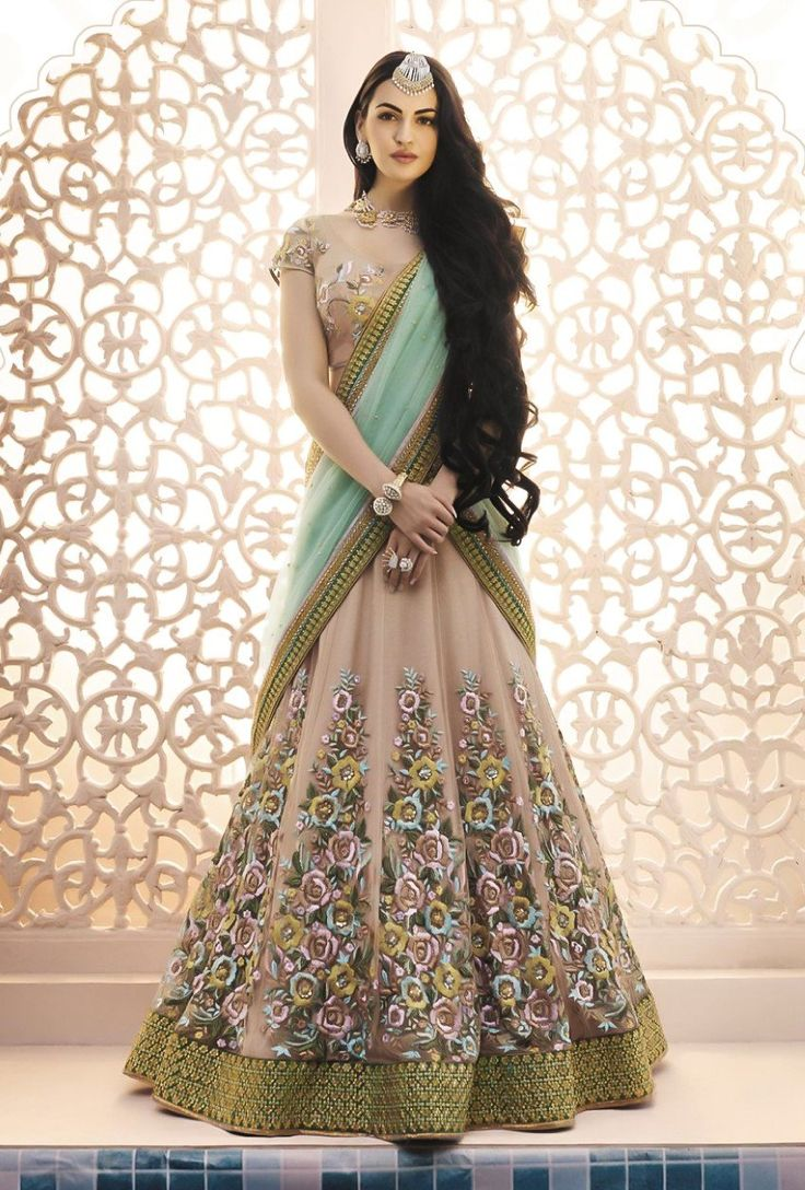 Peach Designer Party Wear Lehenga Set