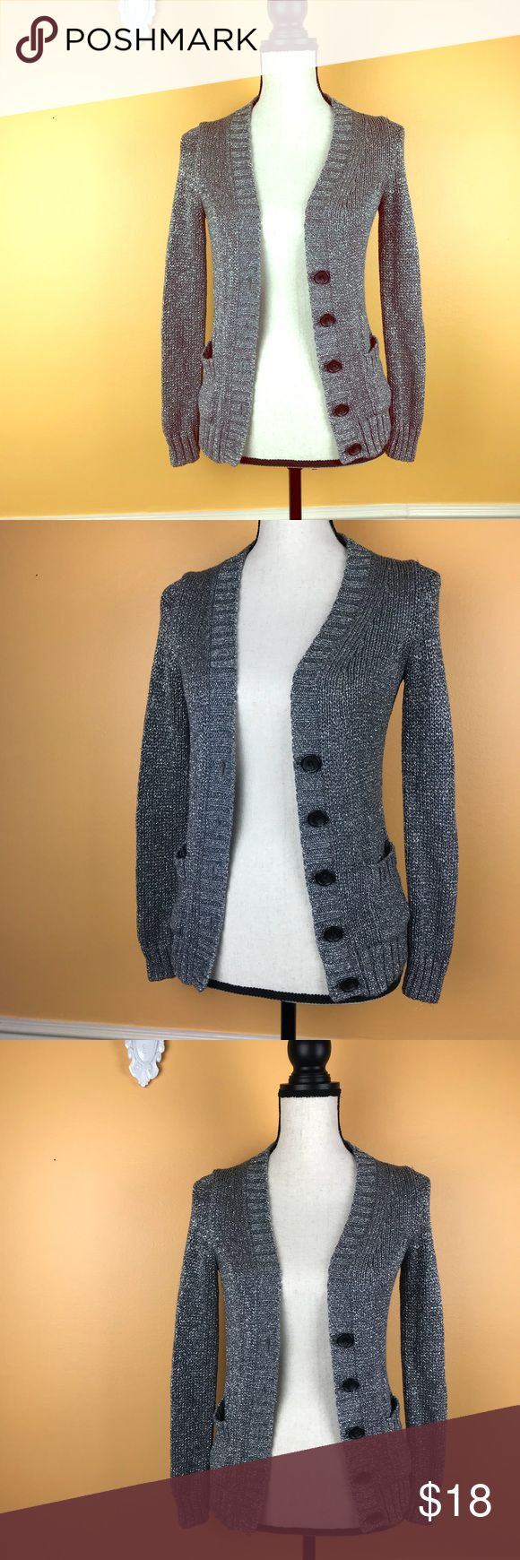 J. Crew metallic silver cardigan Button Down J. Crew sparkly metallic silver cardigan with buttons. Excellent preloved condition. No flaws. Size XS. J. Crew Sweaters Cardigans