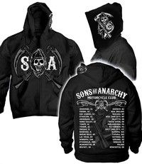 Style: cardigan Type: hooded collar Color: BLACK Size: S M L XL 2XL 3XL Brand: Sons of Anarchy Patte