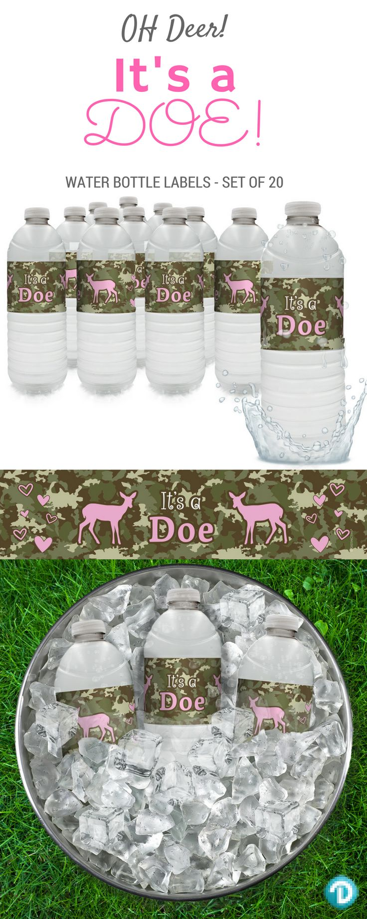TheseIt's a Doe Girl Baby Water Bottle Labelsmakethe perfect finishing touch to your girl pink and camo baby shower.