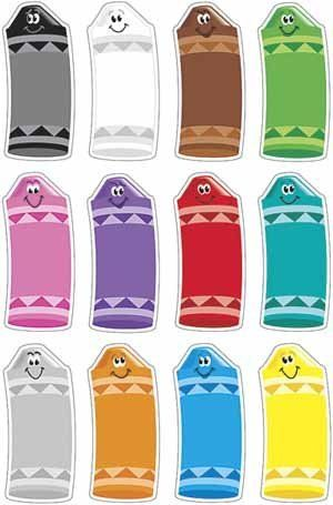 """Crayon Colors Classic Accents Variety Pack by Trend. $4.79. Accents. Add a sense of fun and wonder to every lesson. Introduce units, inspire creative writing, build an alphabet line, teach patterning and sorting, or use as a fun alternative to notes. Versatile designs complement a variety of TREND products. 36-72 per pack. Precut and ready to use. About 5½"""" tall."""