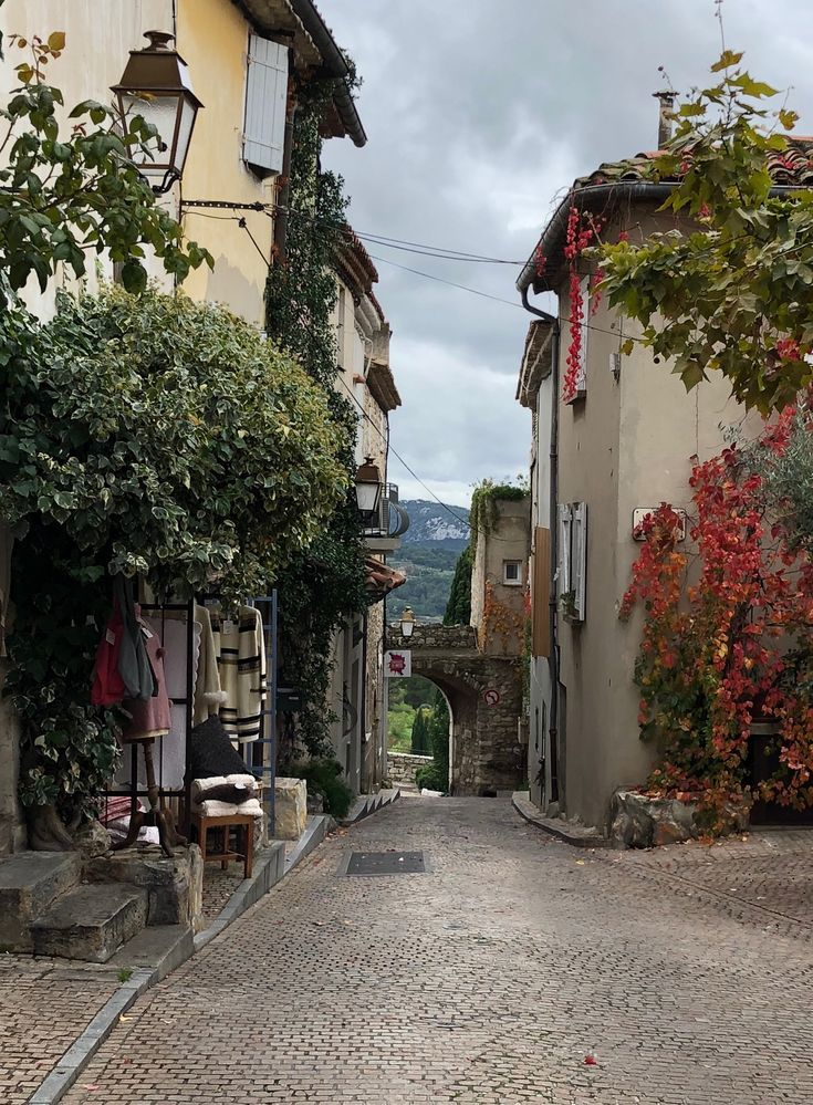 Le Castellet, France Couple stone and narrow streets. This