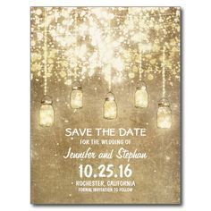 Rustic save the date postcards with vintage sparkly mason jars hanging on the string of lights. Beautiful shimmering glitter save the date postcard - part of string lights mason jar wedding suite.
