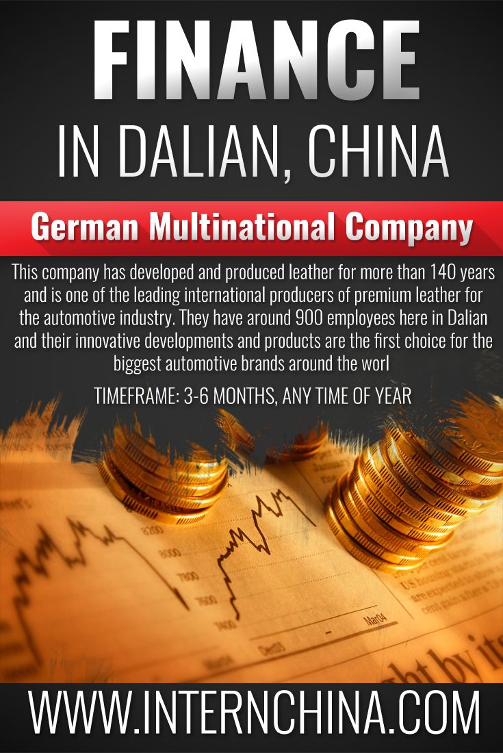 Looking for a Finance Internship? Why not come to Dalian and work in a German Multi National Corporation! See more information here: https://internchina.com/german-multinational-company-finance-internship-ref-dlfn01/