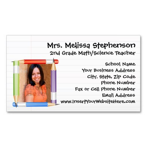 31 best job search teaching images on pinterest resume resume custom photo teacher preschool or school business card calling card with colored pencil frame colourmoves Image collections