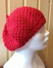 Hand Knit Beret Chunky Hat in Red, Wool, Alpaca, Womens