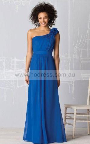 Chiffon One Shoulder Natural A-line Floor-length Bridesmaid Dresses 0740382--Hodress