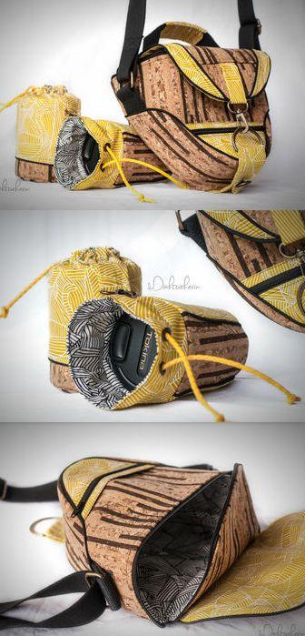 Kameratasche-Set aus Korkstoff, mit Objektivhüllen - Idee in der Werkschau auf Makerist.de
