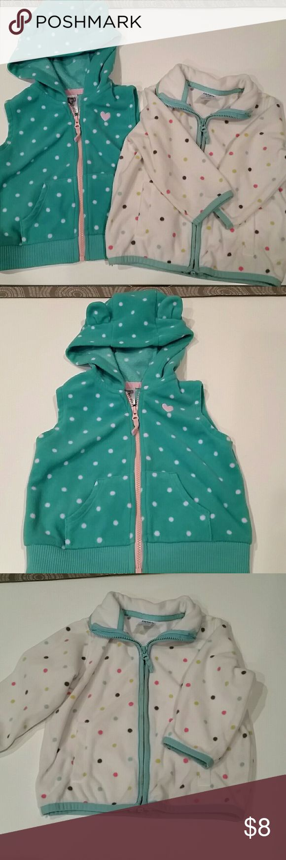 KIDS - 12 MOS. Set of three fleece zip ups Three zip up fleece, size 12 mos.  One green polka dots with hood (adorable little ears on hood) and it's sleeveless.  One pink with brown trim, sleeveless, no hood. One white with polka dots, long sleeve, no hood. All 3 zip up and have pockets. In gently used condition. Carter's Shirts & Tops Sweatshirts & Hoodies