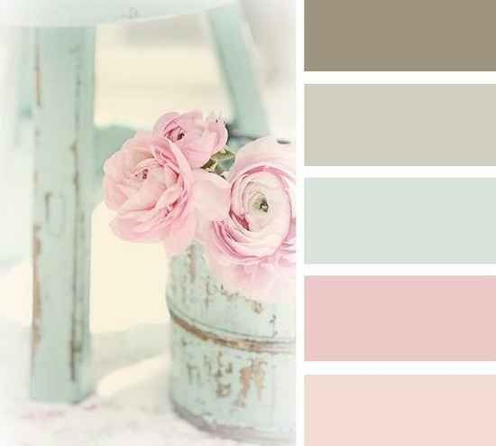 Love these colors. Vintage party color scheme. Pink, aqua, greyish green, cream.