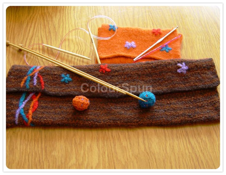Felted Knitting Needle Bags