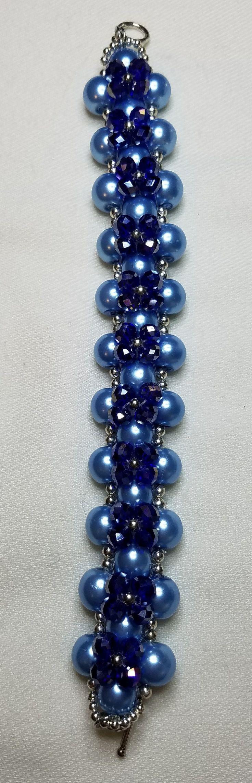 Handmade pearl and crystal bracelet.