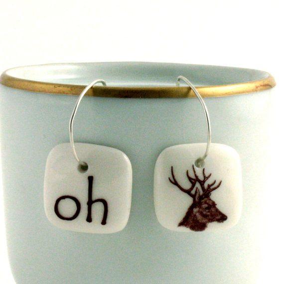 Oh Dear Porcelain Hoop Earrings Jewelry Deer Funny Oktoberfest Animal Forest Handmade White Brown on 925 Sterling Silver Hoops