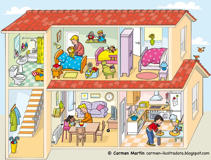 Image to use as a prompt in Spanish class or with kids learning Spanish at home. Can be used for Spanish speaking activities or Spanish writing activities. Good for Spanish vocabulary for parts of the house and household items. http://2.bp.blogspot.com/-QqtnB_zI_k8/TcXj8wPeoMI/AAAAAAAAAAo/NIrjjIg_8Bg/s1600/carmen_ilustradora_0_22.jpg